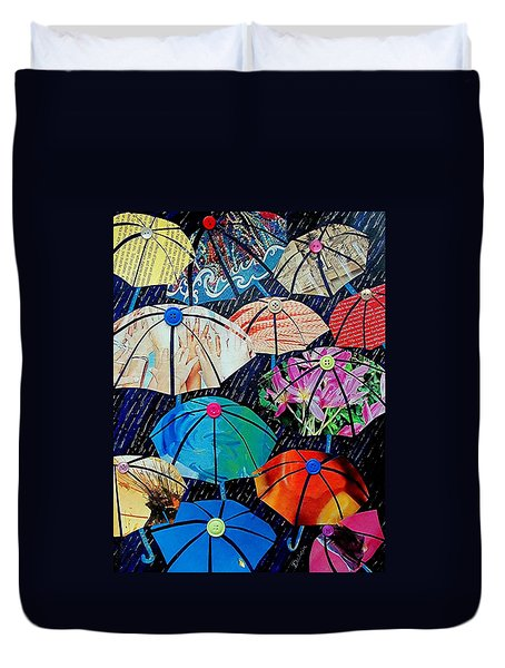 Duvet Cover featuring the painting Rainy Day Personalities by Susan DeLain