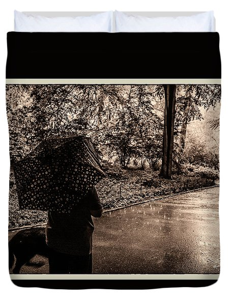 Duvet Cover featuring the photograph Rainy Day - Woman And Dog by Madeline Ellis