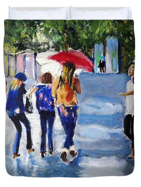 Duvet Cover featuring the painting Rainy Days And Mondays by Judy Kay