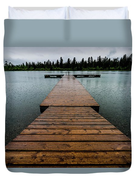 Duvet Cover featuring the photograph Rainy Dock by Darcy Michaelchuk