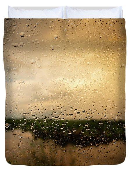 Rainy Dusk Over Horicon Marsh Wisconsin Duvet Cover