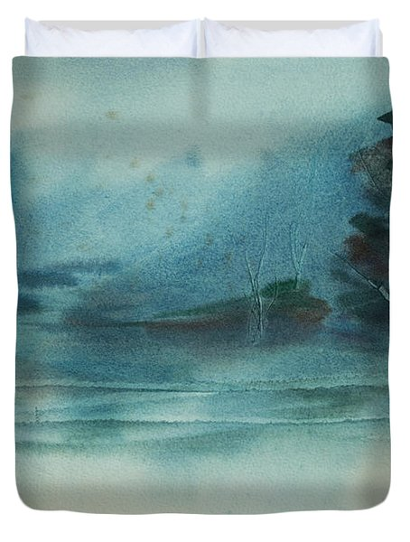 Duvet Cover featuring the painting Rainy Inlet by Jani Freimann