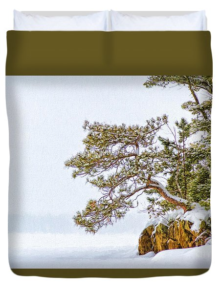 Rainy Lake Pine Duvet Cover