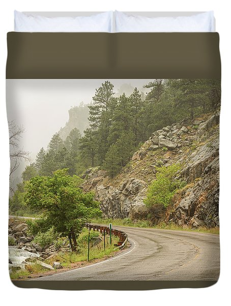 Duvet Cover featuring the photograph Rainy Misty Boulder Creek And Boulder Canyon Drive by James BO Insogna