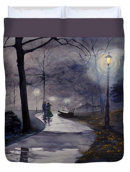 Rainy Night In Central Park Duvet Cover