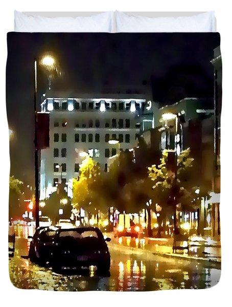 Rainy Night In Green Bay Duvet Cover