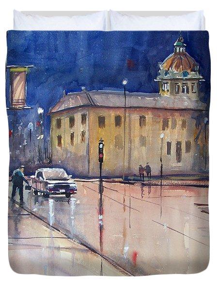 Rainy Night In Green Bay Duvet Cover by Ryan Radke