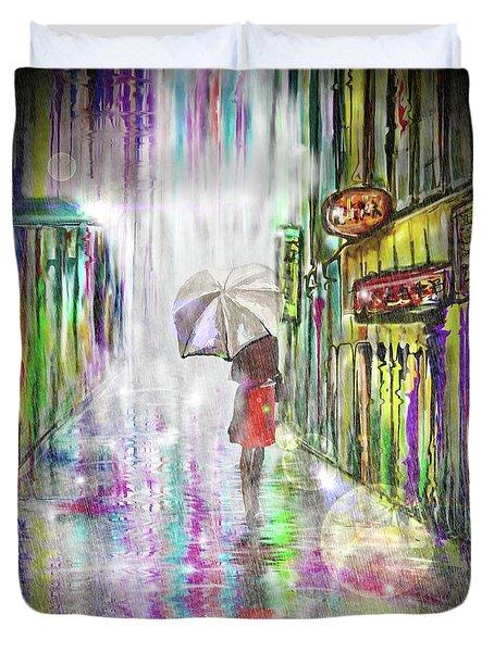 Rainy Paris Day Duvet Cover