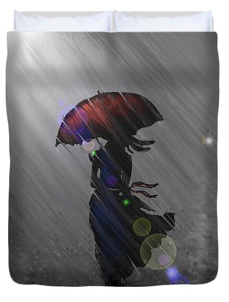 Rainy Walk Duvet Cover