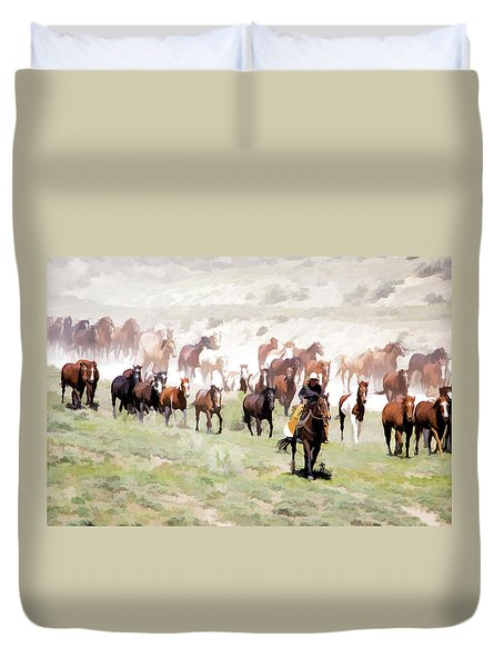 Duvet Cover featuring the digital art Raising Dust On The Great American Horse Drive In Maybell Colorado by Nadja Rider