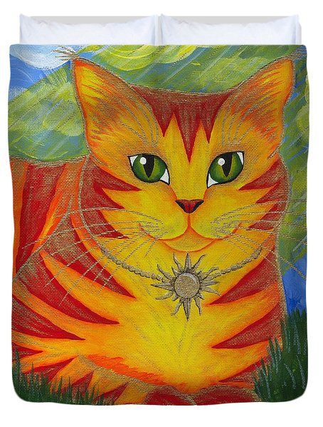 Duvet Cover featuring the painting Rajah Golden Sun Cat by Carrie Hawks