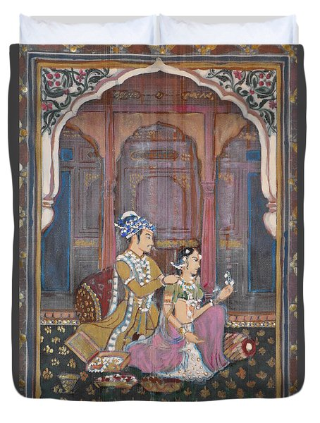 Duvet Cover featuring the painting Rajasthani And Mogul Palace by Vikram Singh