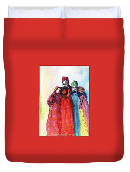 Rajasthani Puppets Duvet Cover