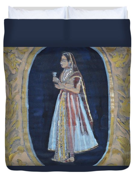 Duvet Cover featuring the painting Rajasthani Queen by Vikram Singh