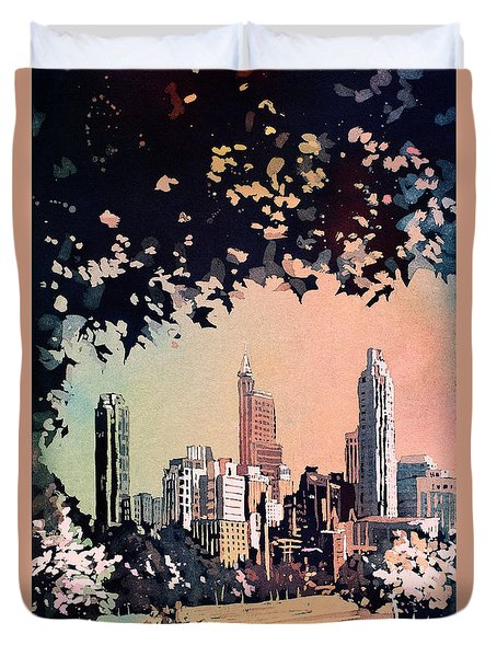 Duvet Cover featuring the painting Raleigh Skyline V by Ryan Fox