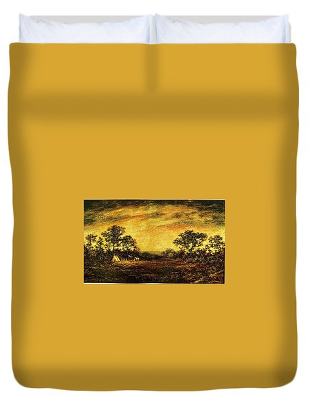 Ralph Blakelock, Indian Encampment Duvet Cover