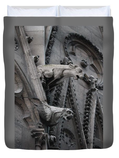 Duvet Cover featuring the photograph Ram And Eagle Griffon Notre Dame by Christopher Kirby