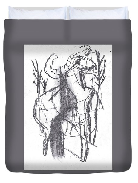 Ram In A Forest Duvet Cover