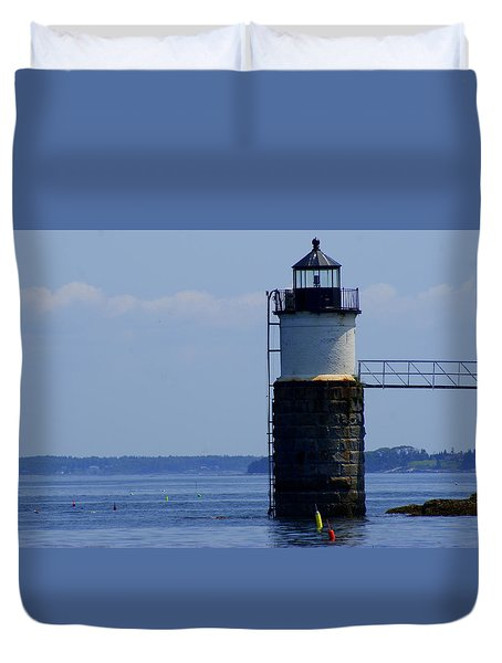 Ram Island Light Duvet Cover by Lois Lepisto