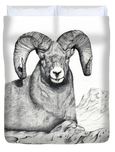 Duvet Cover featuring the drawing Ram by Mayhem Mediums