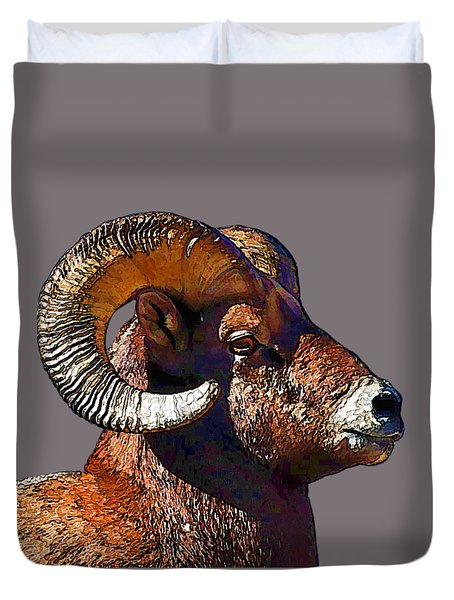 Duvet Cover featuring the digital art  Ram Portrait - Rocky Mountain Bighorn Sheep By Olena Art by OLena Art Brand