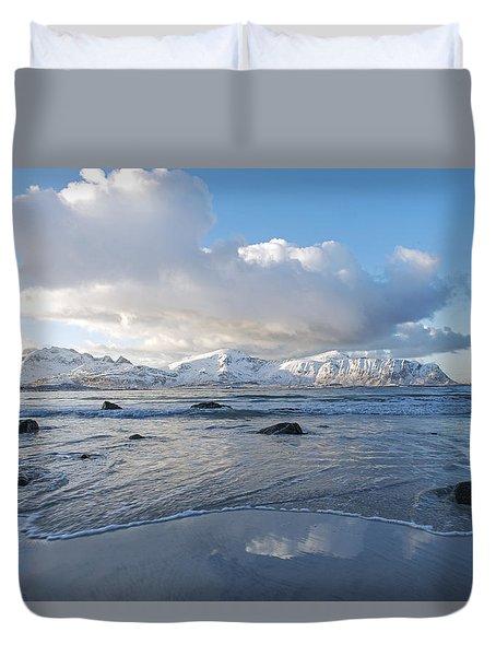 Ramberg Beach, Lofoten Nordland Duvet Cover