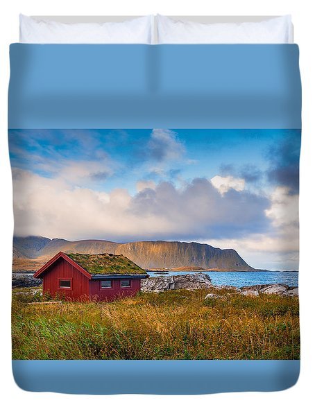 Duvet Cover featuring the photograph Ramberg Hut by James Billings