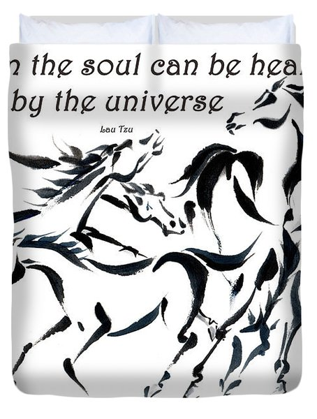 Duvet Cover featuring the painting Rambunctious With Lao Tzu Quote I by Bill Searle