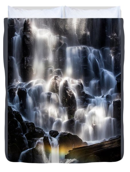 Ramona Falls With Rainbow Duvet Cover