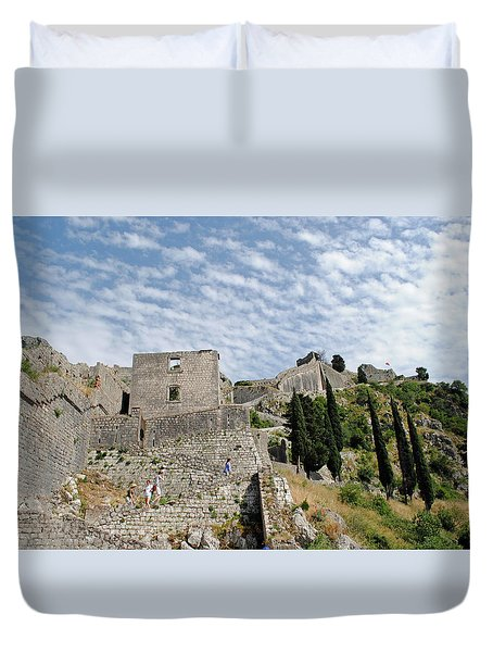 Duvet Cover featuring the photograph Ramparts Of Montenegro by Robert Moss