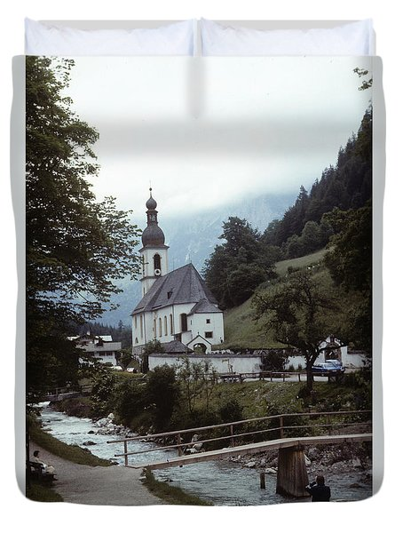 Duvet Cover featuring the photograph Ramsau Church by Donald Paczynski