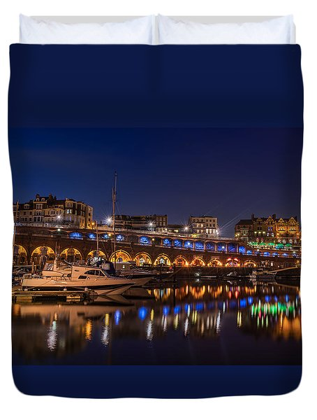 Ramsgate Marina At Night Duvet Cover