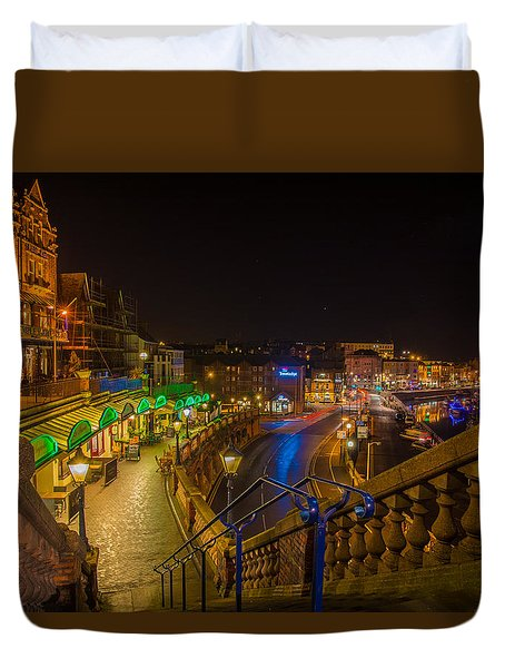 Ramsgate West Cliff Arcade Restaurants At Night  Duvet Cover