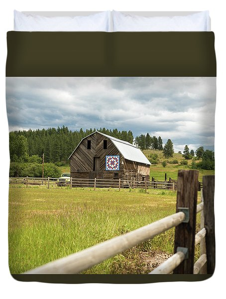 Ranch Fence And Barn With Hex Sign Duvet Cover