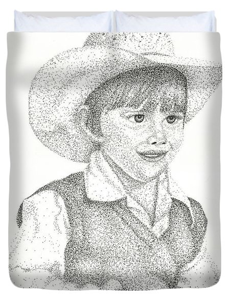 Duvet Cover featuring the drawing Ranch Hand by Mayhem Mediums
