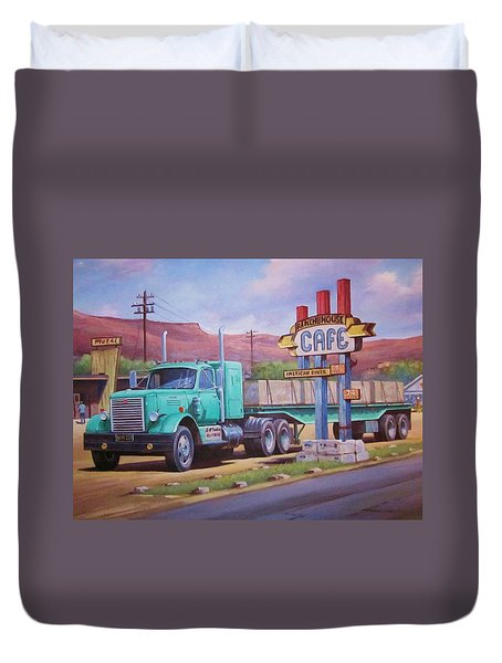 Duvet Cover featuring the painting Ranch House Truckstop. by Mike Jeffries