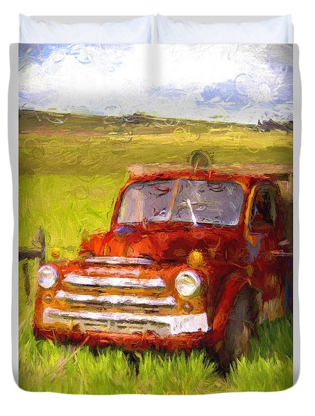 Duvet Cover featuring the photograph Ranch Truck by Kathy Bassett