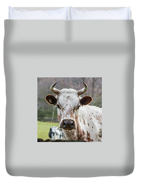 Duvet Cover featuring the photograph Randall Cow by Bill Wakeley