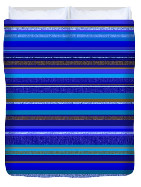 Duvet Cover featuring the digital art Random Stripes - Blue And Gold by Val Arie