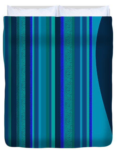 Random Stripes - Electric Blue Duvet Cover