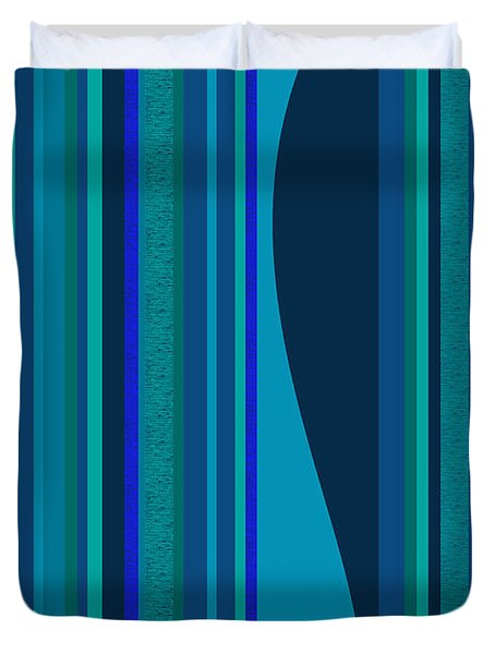 Random Stripes - Electric Blue Duvet Cover by Val Arie