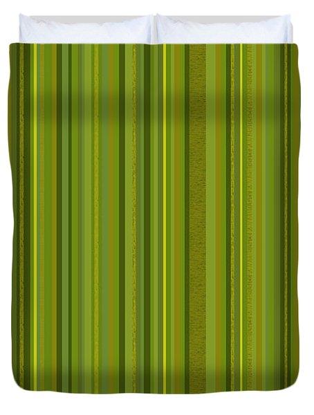Random Stripes - Golden Green Duvet Cover