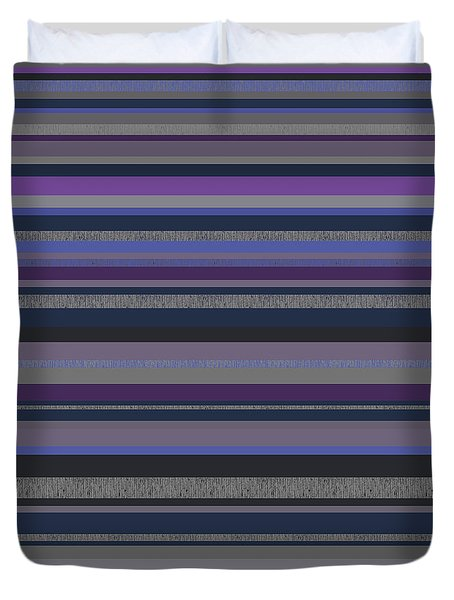 Duvet Cover featuring the digital art Random Stripes - Grayed Blues And Purple by Val Arie