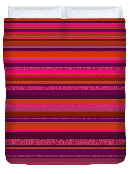 Duvet Cover featuring the digital art Random Stripes - Hot Pink And Rusty Orange by Val Arie