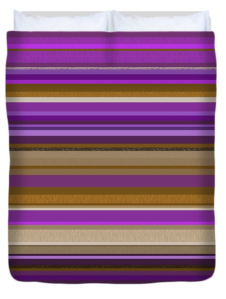 Duvet Cover featuring the digital art Random Stripes - Purple And Gold by Val Arie