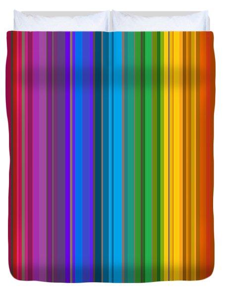 Random Stripes - Rainbow Stripe Duvet Cover by Val Arie