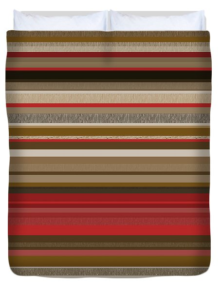 Duvet Cover featuring the digital art Random Stripes - Red Accents by Val Arie