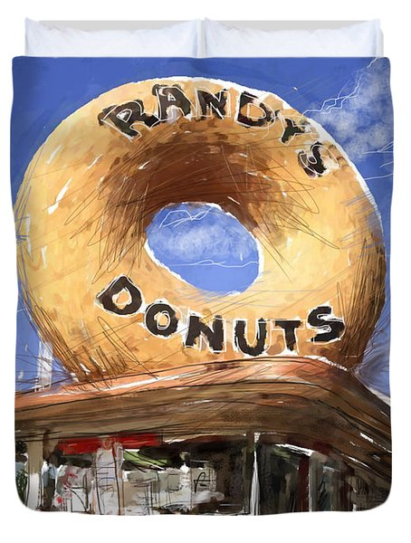 Randy's Donuts Duvet Cover