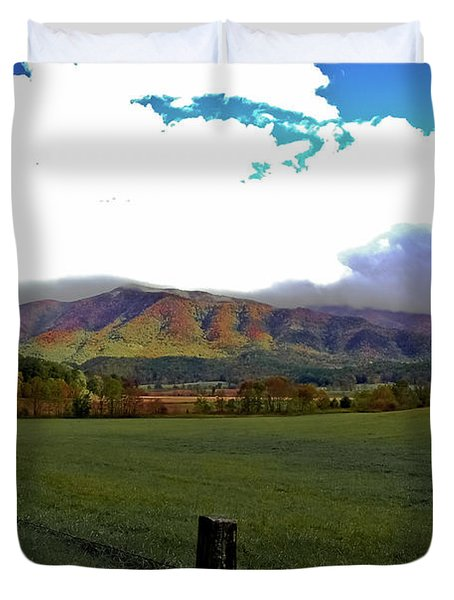 Range Neath The Mountain Duvet Cover by DigiArt Diaries by Vicky B Fuller