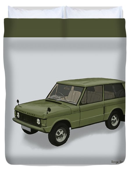 Duvet Cover featuring the mixed media Range Rover Classical 1970 by TortureLord Art